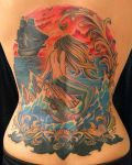 mermaid back piece tattoo by michaelpipertattoo