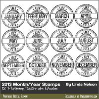 Free Photoshop Vector Brushes-2013 Date stamps by pixelberrypie