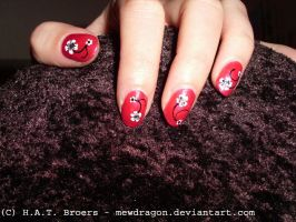 Red and flower nailart 01 by Kythana