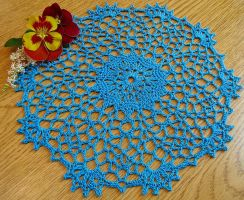 9 Inch Lacy Turquoise Cotton Crochet Doily by doilydeas