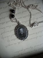 Edgar Allan Poe Pendant Necklace with Black Beads by NaamahVonhell