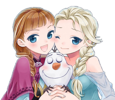 Anna, Elsa and Olaf by Natsi90