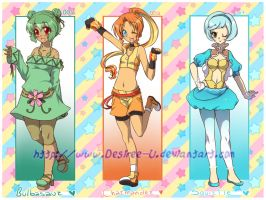 PokeGijinka Adopts-Kanto trio! +Pokemon gadgets! by DesireeU