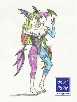 Morrigan and Lilith Conjoined by MrProfGenius