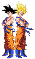 GOKU NORMAL Y SUPER GUERRERO by BardockSonic