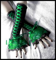 Glen Eve Corset Laced Up Arm Warmers by ZenAndCoffee