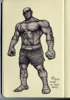 sagat in markers, by nickybeats