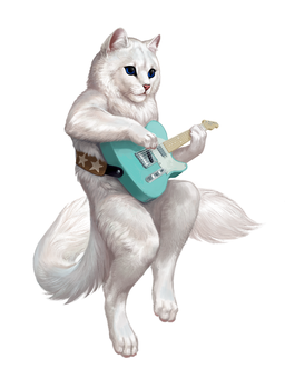 Cat with a guitar by Atenebris