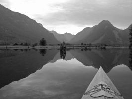 Kayaking on Pitt Lake - BW by MandarinManMark