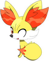 Fennekin sitting down pose, part one 4/37. by Flutterflyraptor