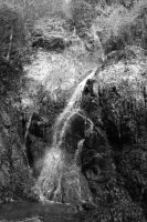 black and white waterfall by rayna23