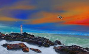 lighthouse painting by nosoart