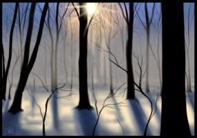Winter Forest Paintsketch by Inonibird