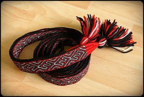 Tablet woven belt Red Black White by WonderfulSun