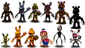 Fnaf 4 Characters Canon by aidenmoonstudios