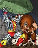 Colossus Battles Juggernaut by statman71