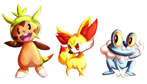 X Y Starter Pokemon by coffeeatthecafe