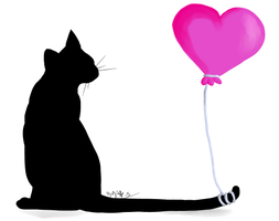 Cat and Balloon by Melchony