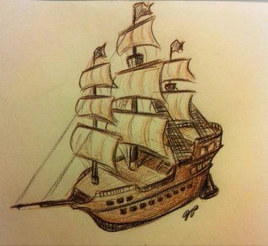 Pirate Ship Sketch by Baraayas