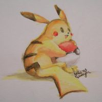 pikachu in watercolor by Purp1eDragon