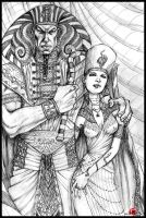 AMENHOTEP V and NEFERASET by LeeReex