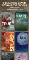 8 colorful Ebook Covers 2000 x 3000 px by Divenadesign
