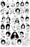 Musician caricatures: Guess! by Deimos-Remus