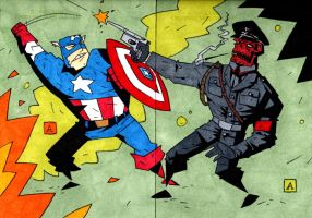 Cap VS Skull by soliton