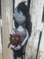 My Needle Felted Marceline with her Wolf Pup by CatsFeltLings