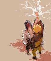 Sasuke and Naruto digital sketch by Leloucha