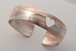 Twisted Wire Inlay Heart Cuff by Vor4