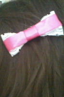 pink and white lace hairbow by Rainbowkitty-Designs