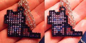 Pixel Kitty Pendant by wickedorin