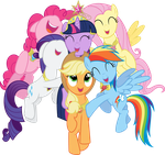 mane six hug by mehoep