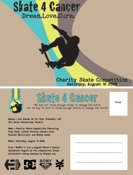 Skate 4 Cancer postcard by Sneaks77