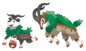Skiddo And Gogoat by TheAngryAron