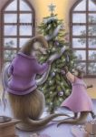 Christmas Otters by Red-Clover