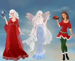 Christmas Goddesses by WaterLily-Gems