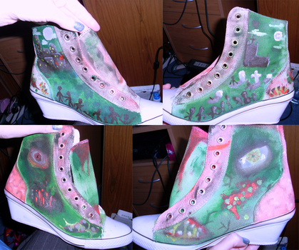 Painted zombie shoes by lemonpeanut