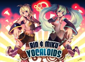 VOCALOIDS RIN and MIKU by Langewong