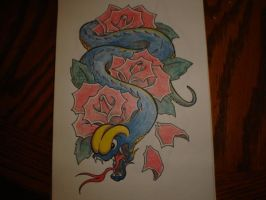 Snake and Roses by Freddyferd
