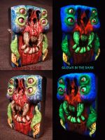 Alien Terror Zippo by Undead Ed Glows in the Dark  by Undead-Art