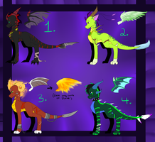 Dragon adoptables by Loki-Ryuu
