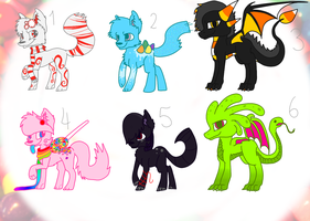 Candy creature adoptables (5 of 6 taken) by Flaamez