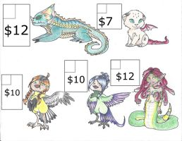 Mythological Adoptables for sale! (Pay via PayPal) by LunarSkies92