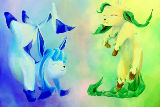 Glaceon and Leafeon by bobschuler