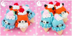 Crochet ice-cream friend Charm by CuteMoonbunny