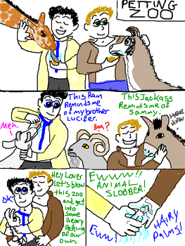 Destiel at the Petting Zoo by GirlyGhoul