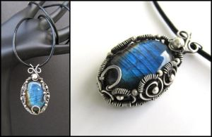 labradorite wire bezel necklace by annie-jewelry