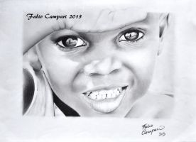 African child - Pencil on paper 20x30 by Camparbio